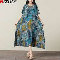 2017 New Womens Summer Dress Tree Pattern Print Short Sleeve Linen Feminine Vestidos Fashion Casual Loose