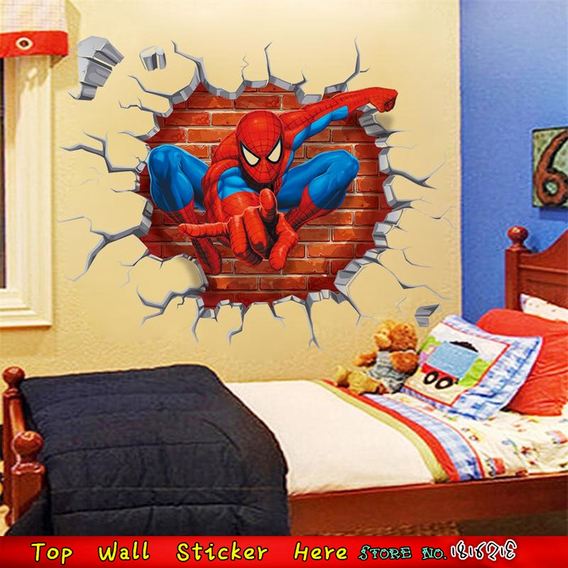 Cool 3D Spiderman Wall Sticker For Kids Room Decoration Healthy Non ...