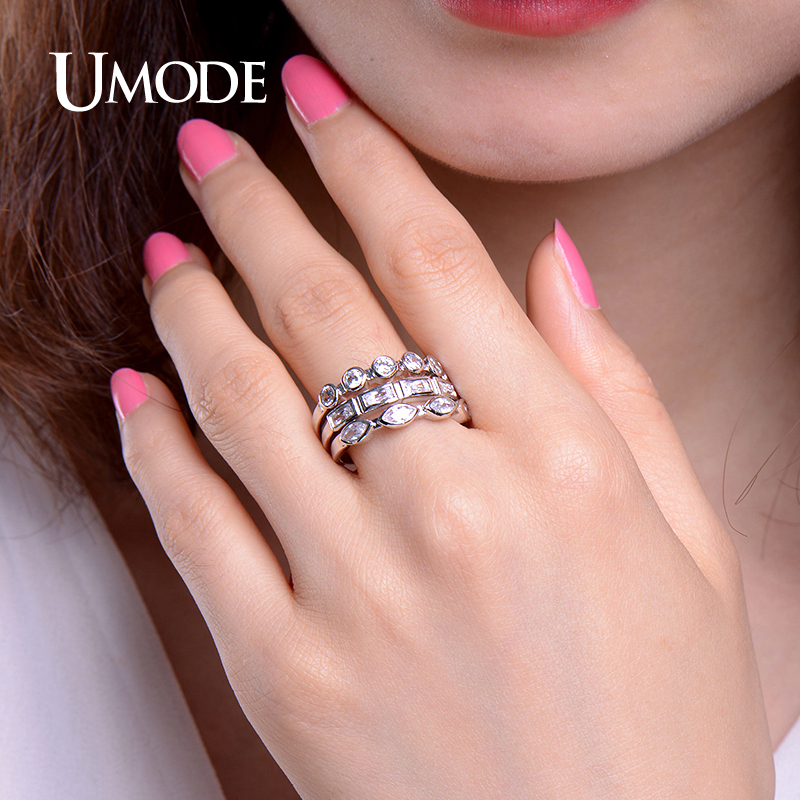UMODE Fashion Stackable Rings White Gold Color Three Shaped CZ ring ...