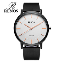 RENOS Women Watch Simple Sport Casual Fashion Wristwatches With Box Birthday Anniversary Quartz Watches PU Band For Men Woman