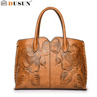 DUSUN Embroidery Floral Handbags Women Vintage Messenger Bags Ladies Brand Designer Shoulder Bag Female Luxury Bolsa