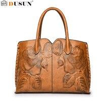 DUSUN Embroidery Floral Handbags Women Vintage Messenger Bags Ladies Brand Designer Shoulder Bag Female Luxury Bolsa