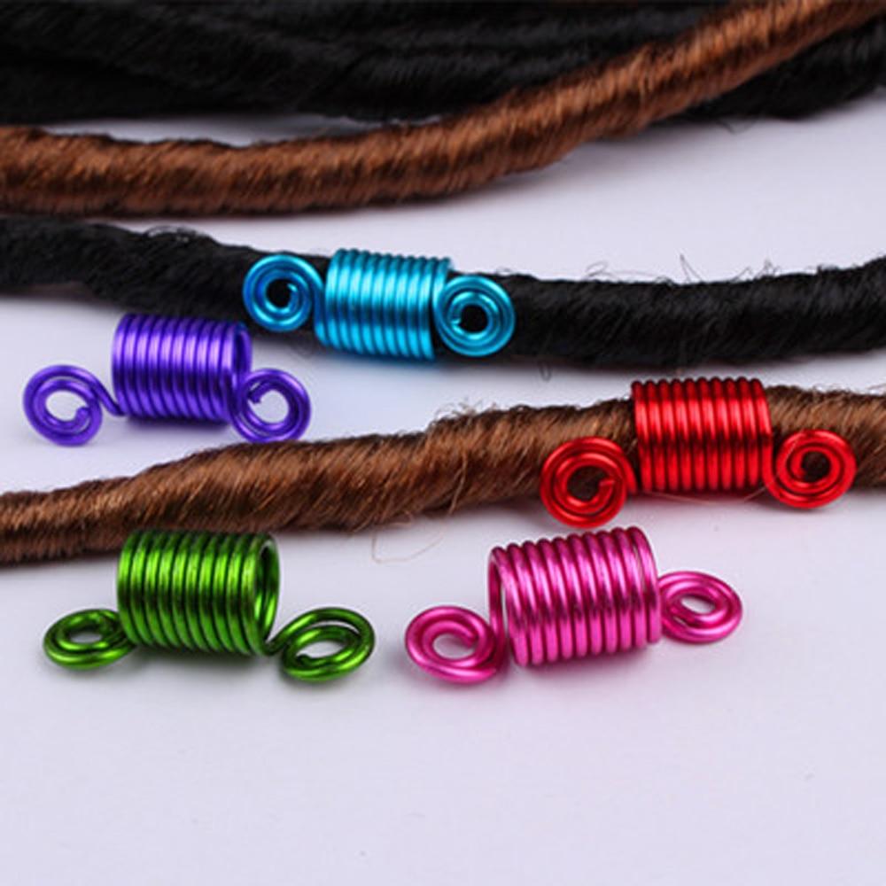 OLD STREET 5 Pieces Copper Hair Dreadlocks Coil Hair Wraps Braiding Dread Locks Metal Hair Cuffs (7 colors)