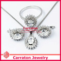 Carraton SXF3007 Clear Stone Oval Crystal White Gold Jewellery Sets
