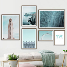 World Map New York Ferris Wheel Seascape Wall Art Canvas Painting Nordic Posters And Prints Pictures For Living Room Decor