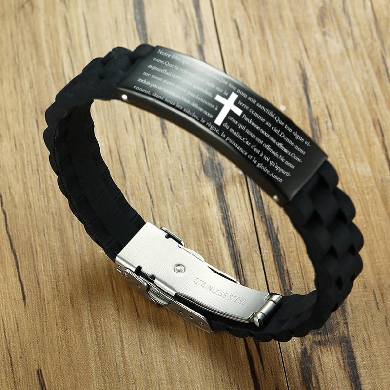 Мужской браслет с гравировкой, черный силиконовый браслет на  нескольких языках, на немецком, французском, ивритеID браслеты   -