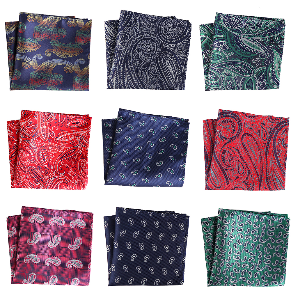 25CM Men's Pocket Square Vintage Floral Paisley Handkerchief Pocket Square Fashion Men Hanky For Wedding Party Chest Towel