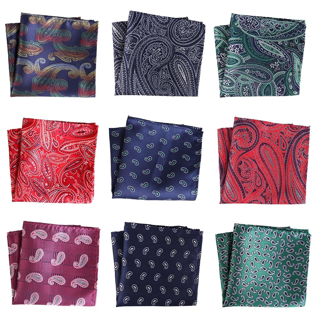 25CM Men's Pocket Square Vintage Floral Paisley Handkerchief Pocket Square Fashion Men Hanky For Wedding Party Chest Towel