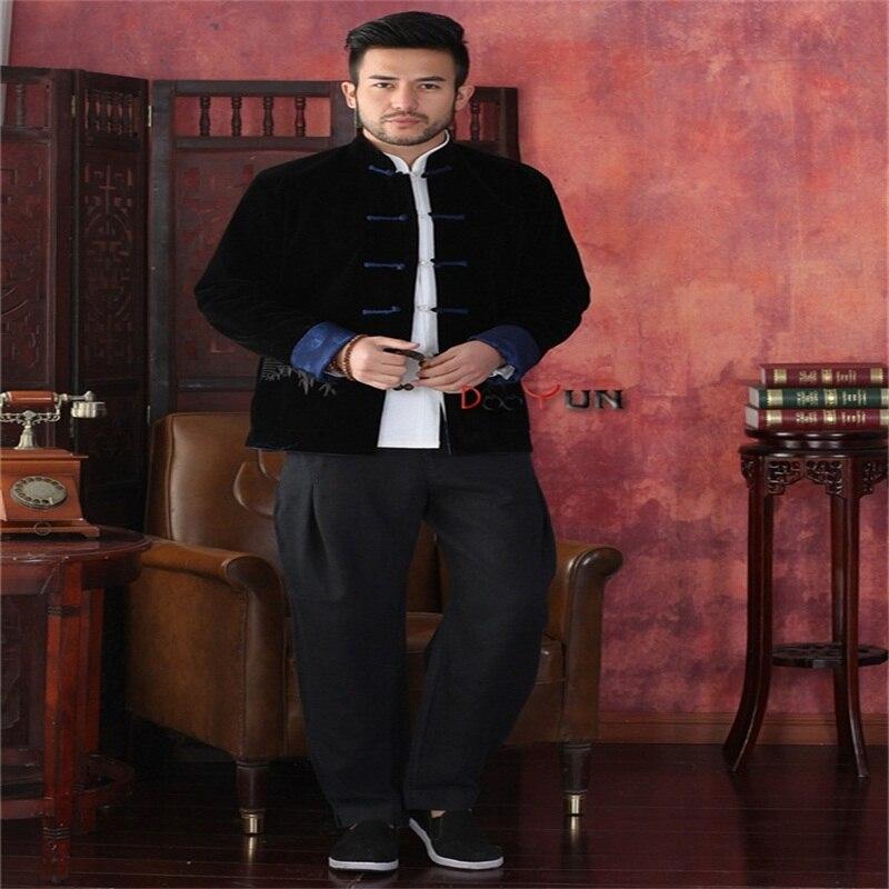 Vente chaude noir bleu hommes à manches longues deux-Face veste Kung Fu manteau velours Tang costume taille S M L XL XXL XXXL livraison gratuite