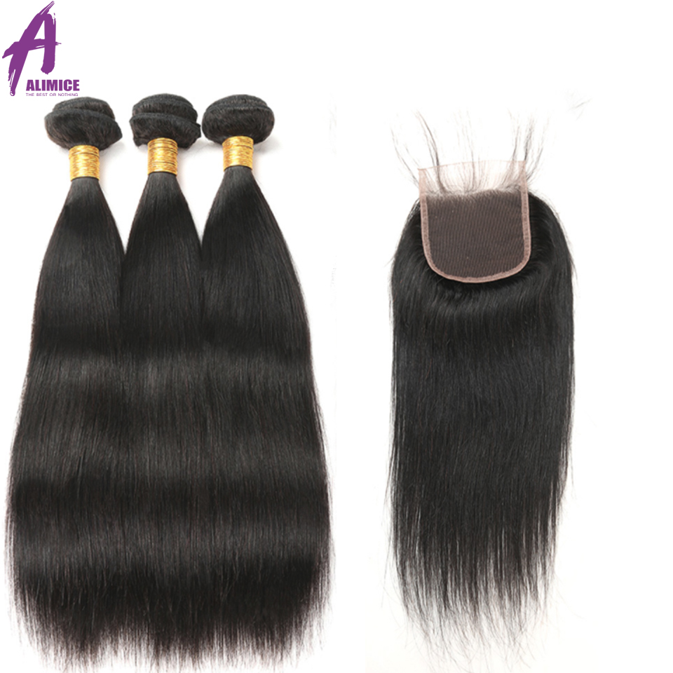 Alimice Cambodian Straight Hair 3Bundles Deals With Closure 100 Human Hair Bundles With Lace Closure Free