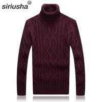 Siriusha Solid Color Sweater Autumn And Winter Turtleneck Sweater Male Sweater Vintage Thickening Male Coarse Sweater