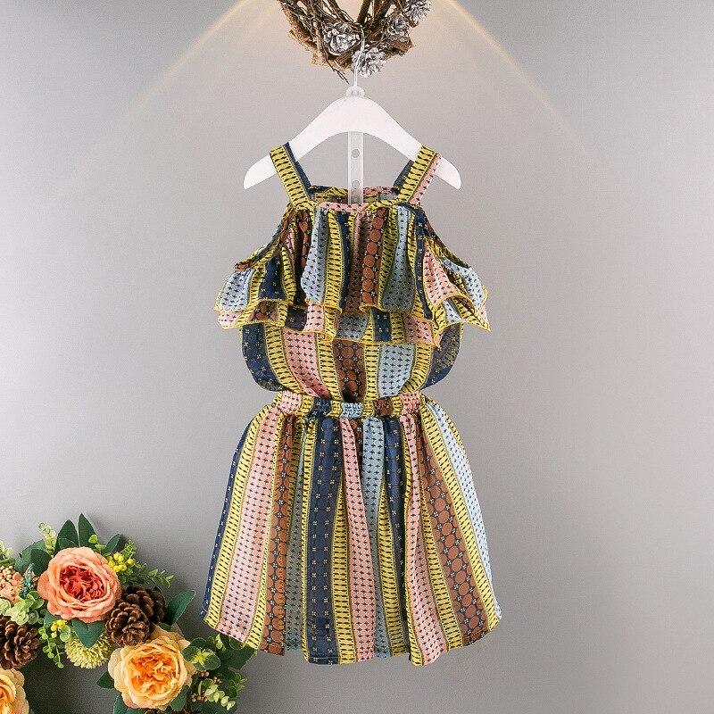 Lány ruházat készlet 2019 nyári új csíkok színes aranyos - Gyermekruházat - Fénykép 2