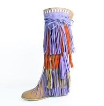 Wedges Tassel Long Boots Cross Strap Middle Heel Round Toe Winter Woman Shoes Knee High Leather Runway Street Ladie Fringe