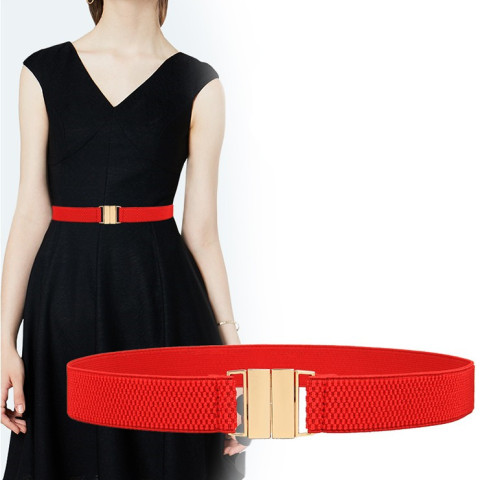 HOT Woman Elastic waistband corset lady black cummerbunds Gold Wide Stretch dress Waistband Belt women Girls Apparel Accessories Islamabad