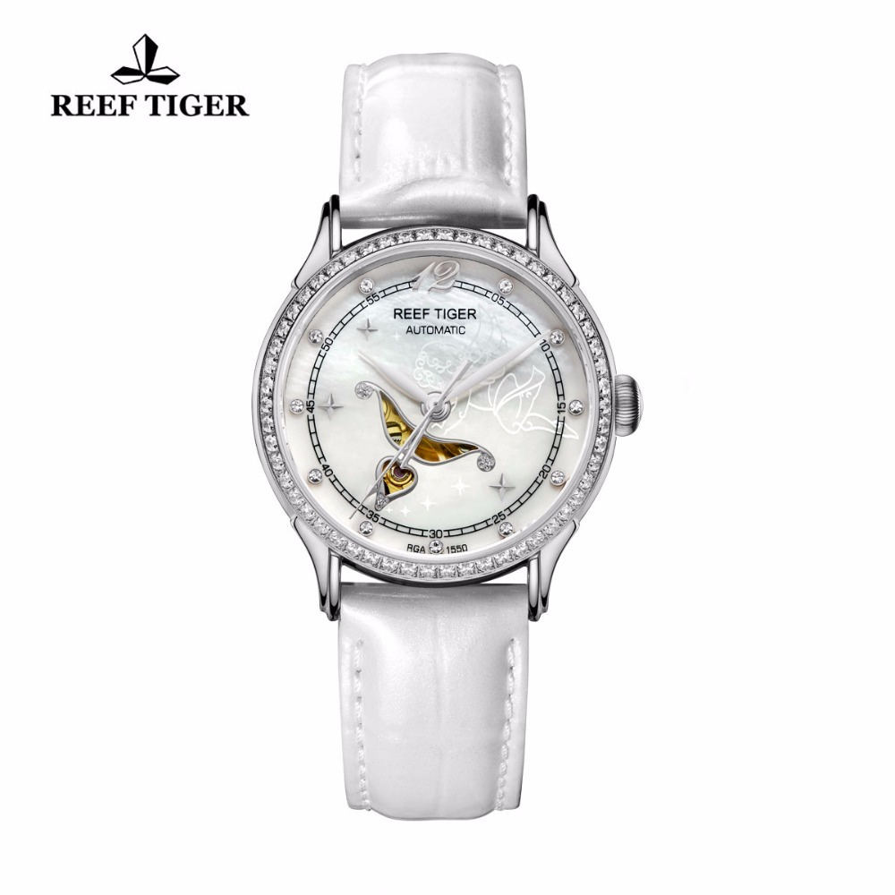 цена на Reef Tiger Designer Fashion Watch with White MOP Dial Steel Watches For Women Diamonds Automatic Watch RGA1550