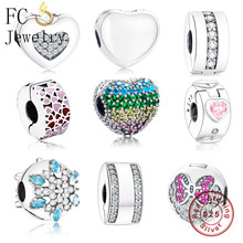 72abbeaa7 FC Jewelry Fit Original Pandora Charms Bracelet 925 Silver Heart Flower  Enamel Mix Zirconia Lock Clip Stopper Beads DIY Berloque