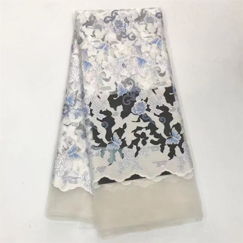 Free Shipping African Lace Fabric White High Quality Cheap Tulle Lace Fabric 2018 New embroidered tulle fabric for dresses F217
