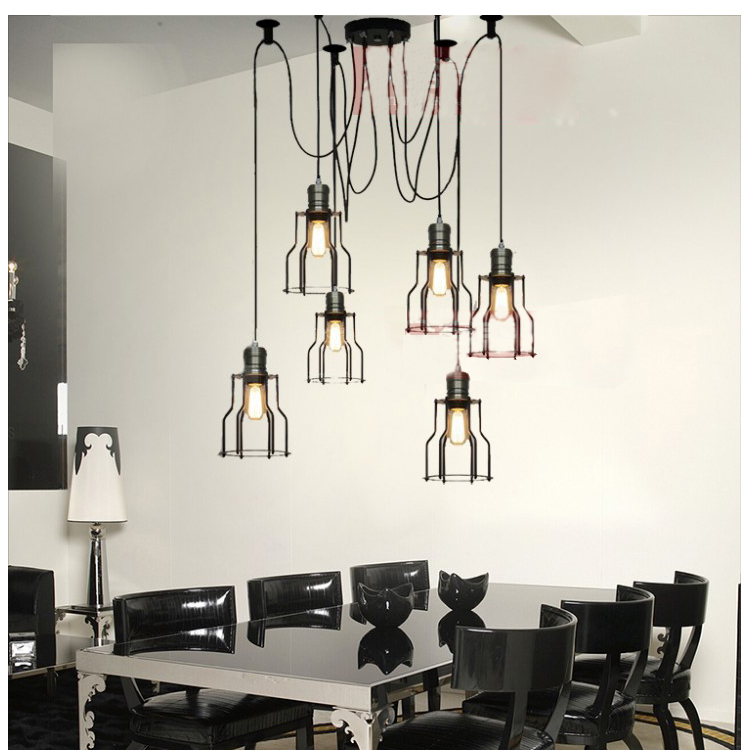 Buy 6 lights loft vintage industrial for Dining room 3 pendant lights