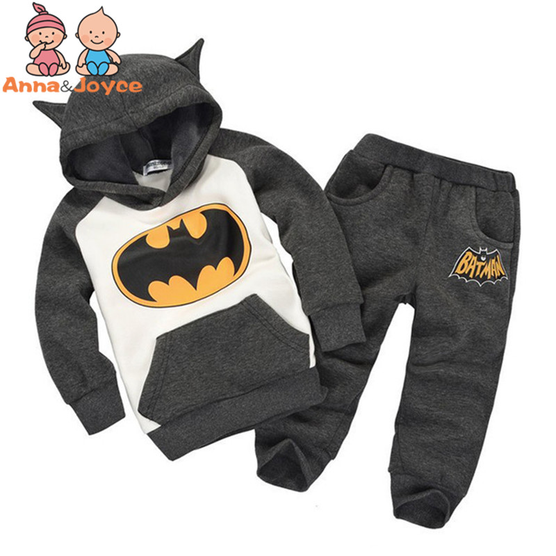Autumn Models of Child Wild Fashion Cartoon Batman Suit Fleece Sweater Suit Boys and Girls