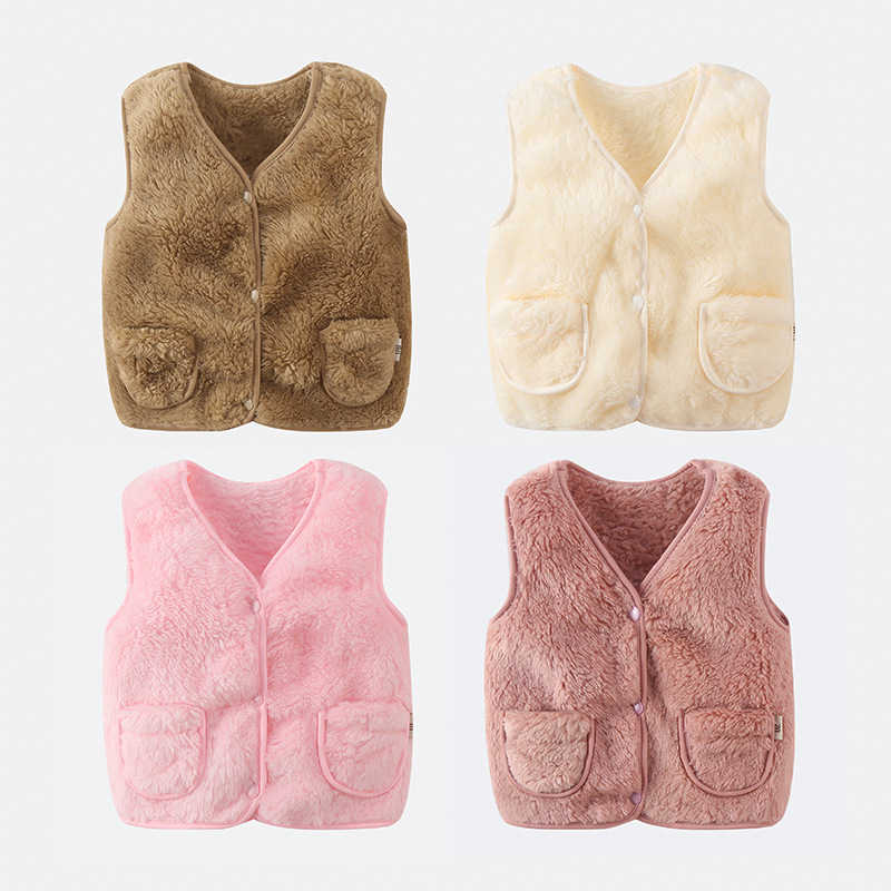 Moda yeni bebek peluş v yaka sıcak fux kürk yelek çocuk yumuşak cilt dostu yelekler kızlar açık rahat saf renk yelekler