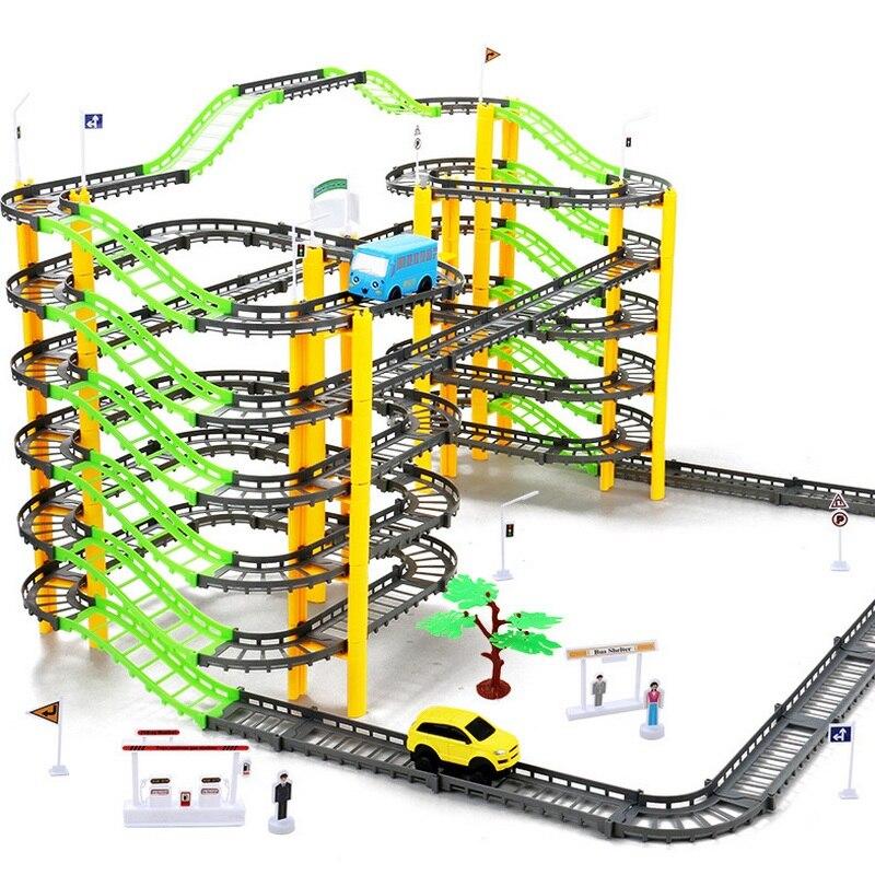 155 pcs DIY Assemb Slots Hors route Véhicule 3D Électrique Rail De Voiture Racing Route Kit Spirale Piste Roller Coaster Enfant Petit Train ensemble