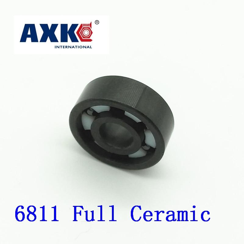 AXK 6811 Full Ceramic Bearing ( 1 PC ) 55*72*9 mm Si3N4 Material 6811CE All Silicon Nitride Ceramic 6811 Ball Bearings 6811 full ceramic zro2 55x72x9 61811 zro2 ceramic ball bearing 6811ce