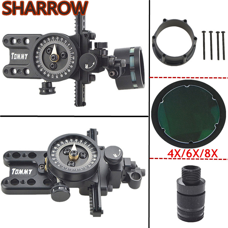 Compound Bow Single Sight Sight Lens Bow Sight Adapter Sight Light Right Hand Micro Adjustable Pointer