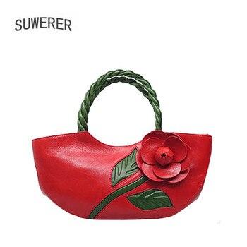 SUWERER 2020 New women genuine leather bag Fashion top Cowhide bags for women handbags designer Luxury schoudertas dames