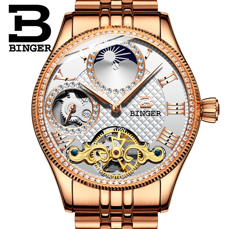 2017 New Mechanical Men Watches Binger Role Luxury Brand Skeleton Wrist Waterproof Watch sapphire Male reloj hombre B1175-11 switzerland mechanical men watches binger luxury brand skeleton wrist waterproof watch men sapphire male reloj hombre b1175g 1