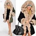 2016 Новая Мода Зимы Женщин Длинные Теплый Толстый Куртка Из Искусственного Меха Куртка С Капюшоном Пальто Дамы Повседневная Одежда