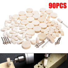 80pcs Multi Size Felt Wool Grinding Polishing Buffing Pads Wheel Wool Plastic Rotary Tool + 10pcs 3.17mm Mini Handles