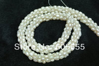 3mm Pearl Rice Beads Handmade Knoted Snake Shape Loose Necklace Free Shipping