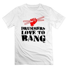 Print T Shirt Men Summer Style Fashion Men's Drummers Love To Bang Drumsticks Cotton Short Sleeve T Shirts