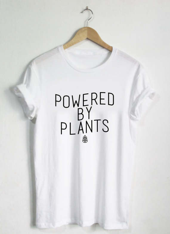 Powered By Plants Shirt Unisex Womans Tshirt Oneck Plant Eater Vegetarian Vegan Gift Vegan Shirts Graphic