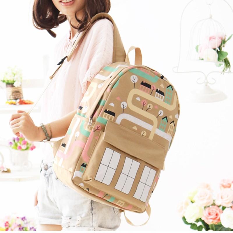 2017 Newest Version Women Backpack Fashion YuFan Brand Cartoon Fresh Soft Canvas Polyester Women Backpack Women