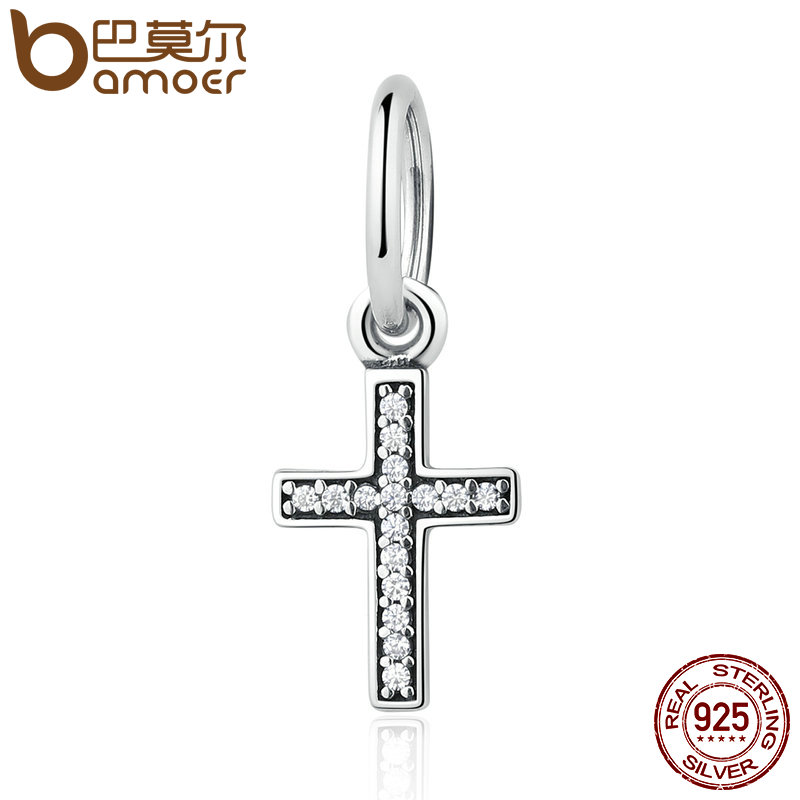 BAMOER Real 925 Sterling Silver Symbol Of Faith Cross, Clear CZ Beads Charms fit Bracelet Fashion Jewelry PSC009