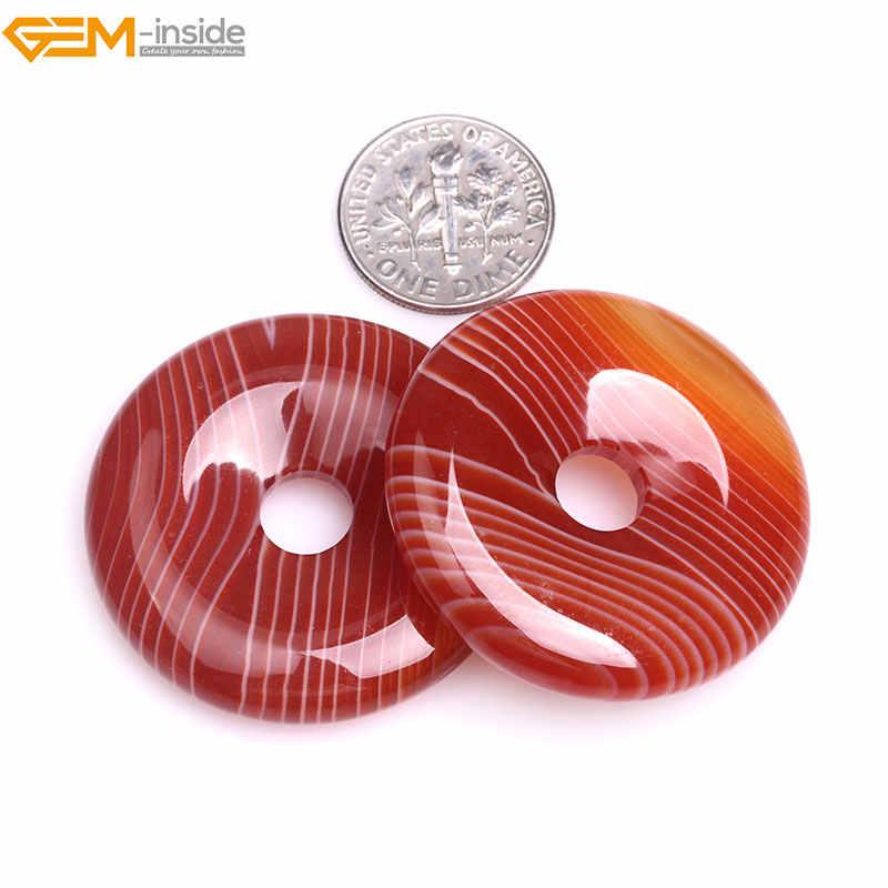 อัญมณี - ภายใน 30-40 มิลลิเมตรหินธรรมชาติลูกปัดโดนัทแหวนนิลสีแดง Sardonyx โมราลูกปัดสำหรับเครื่องประดับทำจี้ลูกปัด