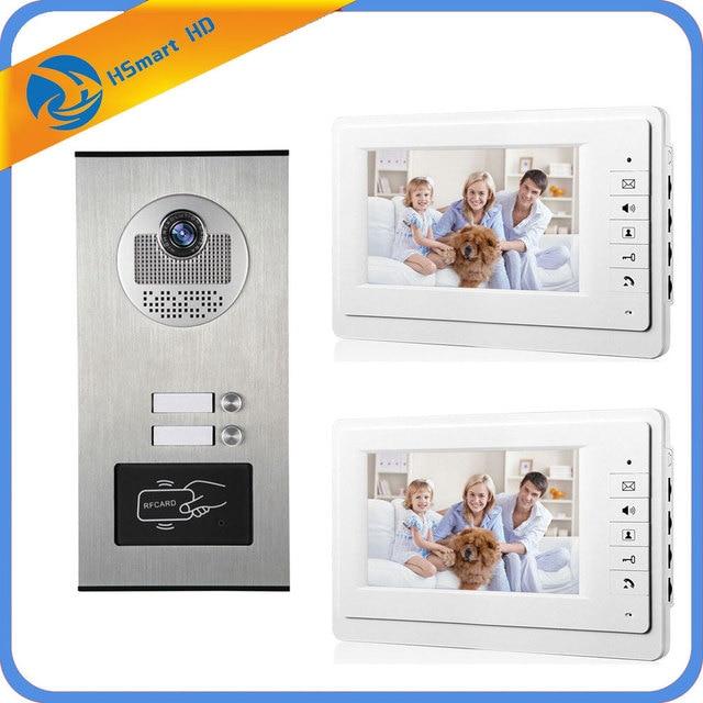 "7"" Screen Apartment Video Intercom Door Phone System 3 White Monitors RFID Access Door Camera for 2 Family House Intercom Kits"