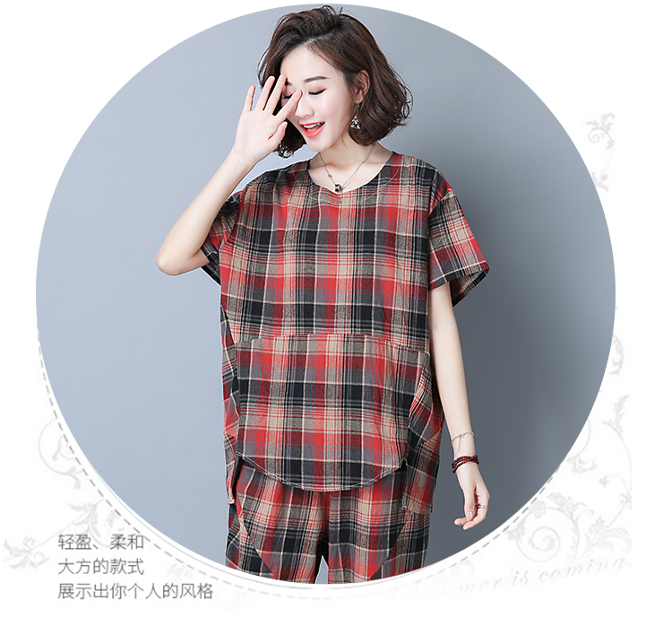 2019 Summer Plaid Cotton Linen Two Piece Sets Outfits Women Plus Size Short Sleeve Tops And Cropped Pants Casual Suits Red Green 43