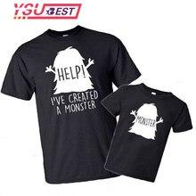 Camiseta estampada engraçada, pai e filha, roupas que combinam para família, ajuda item cravado um monstro, letras impressas, família, roupas que combinam
