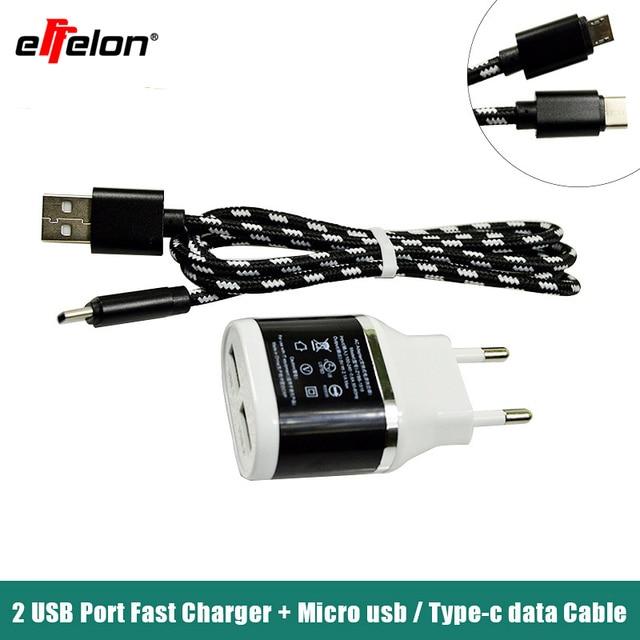 Effelon 5V/2.1A Universal Dual USB Charger Travel Tabler Charger EU Plug + Type c/Xiaomi /Gorgeous Micro USB Cable/8 Pin