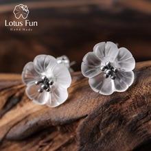 Lotus Diversión Verdadera Plata de Ley 925 de Cristal Natural Hecho A Mano Joyería Fina Flor Bajo la Lluvia Stud Pendientes para Las Mujeres Brincos