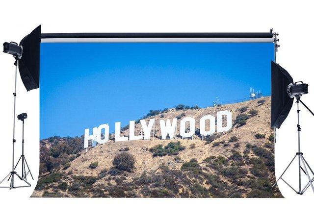 Fondo de paisaje de la naturaleza de Hollywood telones de fondo de las montañas de la selva árboles azul cielo primavera fotografía de fondo