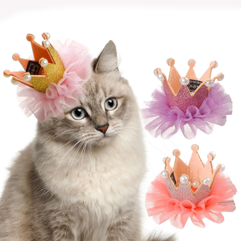 Pet Dogs Hairpin Laced Crown Hair Clips Headdress Grooming Accessories For Cats Puppy Rabbits Caps Hat Dog Birthday Accessories