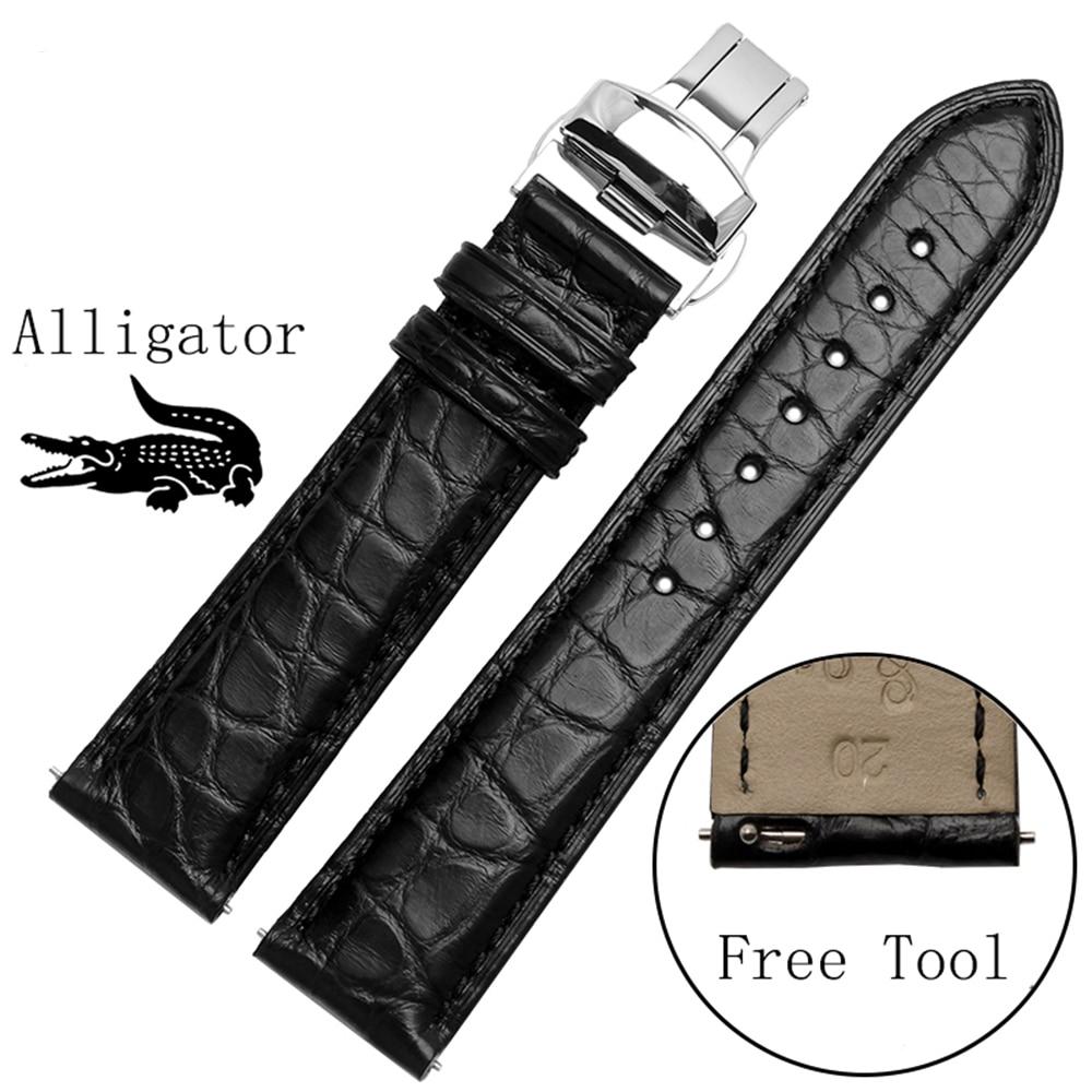 Bracelet de montre intelligent pour le temps de galet en acier/montre intelligente qualité bracelet de montre en cuir Alligator 22mm hommes noir montre accessoires