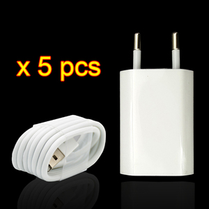 Image 2 - 5 pièces/lot couleur blanche ue prise murale chargeur ca USB pour iPhone 8 broches câble de charge + chargeur adaptateur pour Apple iPhone 7 6 6S 5S 5