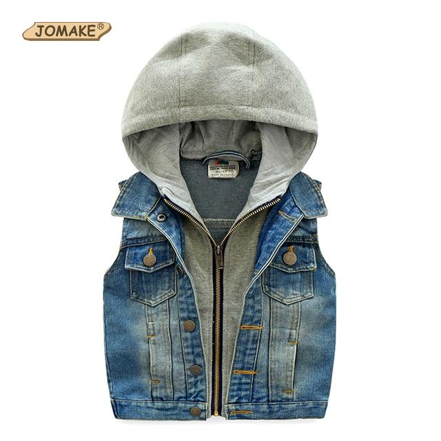Kids Denim Vest Boys Vest Hooded Sleeveless Jean Jackets For Girls Autumn Casual Cotton Zip Gilet Children Waistcoat New Fashion