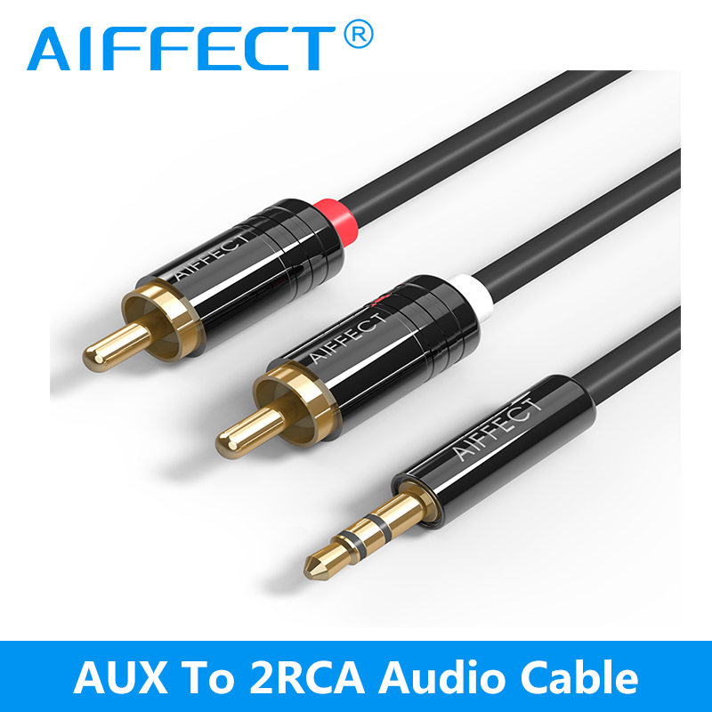AIFFECT 2RCA to 3.5mm Male aux Cable Gold Plated 3.5 Jack RCA Audio Cables Headphone aux Jack Splitter For Theater iPhone