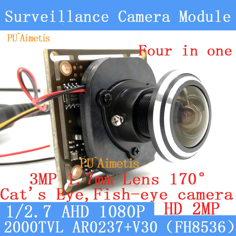 PU`Aimetis 4IN1 V30+AR0237 AHD Mini CCTV Camera Module 2MP 1920*1080P 360Degree Wide Angle Fisheye Panoramic Camera Infrared