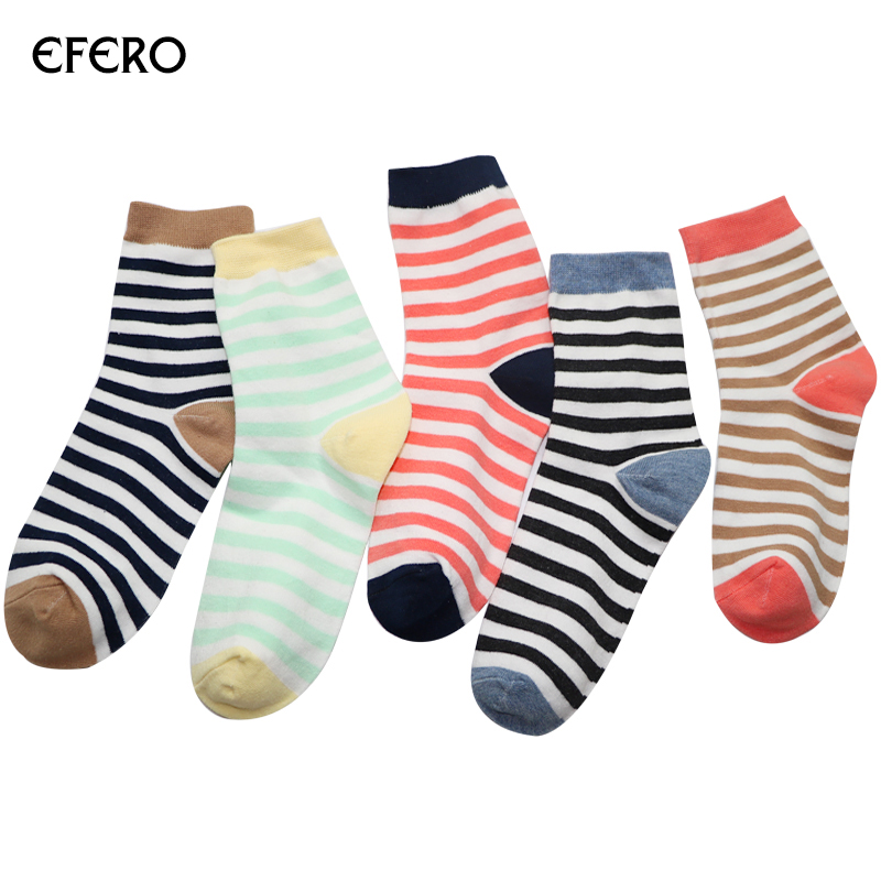 efero 1pair Classical Striped Mens Socks Male Funny Warm Short Ankle Socks for Men Fashion Business Men Socks Meias Masculinas